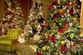 Christmas trees lights luxury hotel lobby Royalty Free Stock Photo