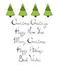Christmas Trees New Year Lettering. Royalty Free Stock Images