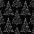 Christmas trees pattern. Stylish abstract Xmas night seamless background. Winter holidays vector texture for wallpaper Royalty Free Stock Photo