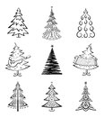 Christmas trees set black pictogram isolated on white background winter holiday symbols Royalty Free Stock Images