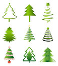 Christmas trees set of chirstmas tree illustrations Stock Photography