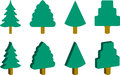 Christmas trees set of ized Stock Photo
