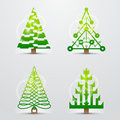 Christmas trees, set of stylized vector symbols Royalty Free Stock Photo