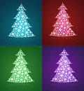 Christmas trees a set of twinkling holiday decor decorations illustration Royalty Free Stock Photo