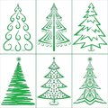 Christmas trees set winter holiday symbols isolated Stock Photo
