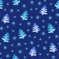 Christmas trees snowflakes seamless pattern.