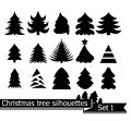 Christmas trees vector set of silhouettes isolated on white background Stock Photography