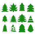 Christmas trees vector set of silhouettes isolated on white background Stock Images