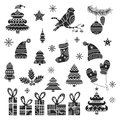 Christmas tribal design elements set. Hand drawn holiday ornamental icons.