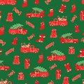 Christmas trucks and gifts red and green pattern.