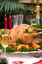 Christmas turkey on holiday table Royalty Free Stock Photo