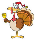 Christmas turkey ringing a bell Stock Photo