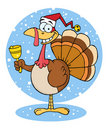 Christmas turkey ringing a bell over snow Royalty Free Stock Photo