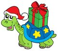 Christmas turtle with gift Royalty Free Stock Photography