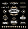 Christmas Typographic and Calligraphic vintage labels, Royalty Free Stock Photo