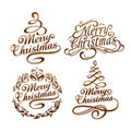 Christmas typography set calligraphic vector illustration Stock Photography