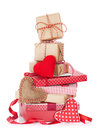 Christmas and Valentines day gift boxes Royalty Free Stock Photo