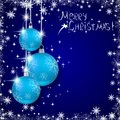 Christmas vector background the with blue balls Stock Photography