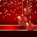 Christmas vector background the red with balls Stock Photo