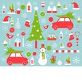 Christmas vector background with snowman and Christmas tre
