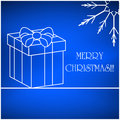 Christmas vector card, background with snowflake and present, gift. Blue Beautiful illustration wallpaper. Royalty Free Stock Photo