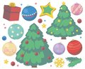 Christmas vector collection with cute cartoon trees, gift, star, snowflake and tree baubles