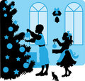 Christmas vector illustration kids silhouettes Royalty Free Stock Image