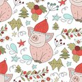Christmas vector seamless pattern with detailed holiday illustrations. Royalty Free Stock Photo