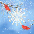 Christmas vector snowflake birds tree background with red cedar waxwings white cut from paper snow covered frozen branches Royalty Free Stock Photos