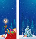 Christmas vertical banners illustration of snowy night with santa's sack and tree Royalty Free Stock Photography