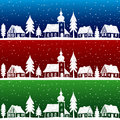 Christmas village with church seamless pattern Stock Photos