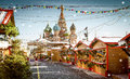 Christmas village fair on Red Square in Moscow, Russia Royalty Free Stock Photo
