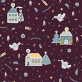 Christmas Village Houses Vector Pattern