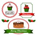Christmas vintage food tags and labels with cupcakes holly and cakes cute illustration Stock Photography