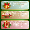 Christmas vintage horizontal banner. Royalty Free Stock Photo