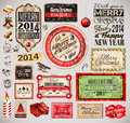 Christmas vintage labels and typo collection a lot of related design elements for your old style designs Royalty Free Stock Images