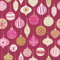 Christmas vintage ornaments pink, gold, beige seamless vector pattern background. Repeated retro Christmas texture. Vector print