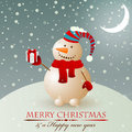 Christmas vintage snowman. Stock Photos
