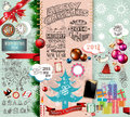 Christmas vintage typograph design elements labels ribbons stickers baubles and gift boxes birds liquid drops swirls and Royalty Free Stock Images