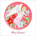 Christmas vitrail red with angel vector illustration Royalty Free Stock Photos
