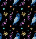Christmas Watercolor beautiful seamless pattern with owls, snowflakes, and brunch with decor