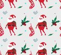 Christmas Watercolor beautiful seamless pattern with Santa Claus, berries, stars, socks and birds