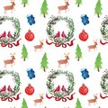 Christmas Watercolor beautiful seamless pattern with wreath, deer, ribbons, mittens and tree