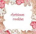 Christmas watercolor cookies frame