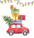 Christmas watercolor illustration with hand drawn red car, fir tree, lights garland and gift boxes, isolated. New Years card Royalty Free Stock Photo