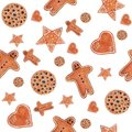 Christmas watercolor seamless pattern with gingerbread cookies man, star, heart, a circle