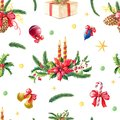 Christmas watercolor seamless pattern.Red poinsettia flower,Holly,candle,pine,green spruce,bow,gift on white background.Hand-drawn