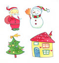 Christmas watercolors icons Stock Photography