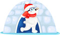 Christmas white bear illustration of Royalty Free Stock Image