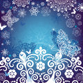 Christmas white-blue frame Stock Photo